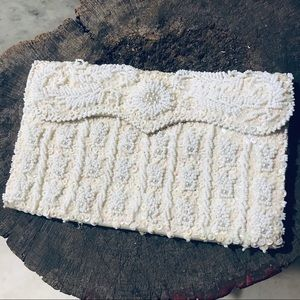 Vintage cream/white beaded evening bag AS IS